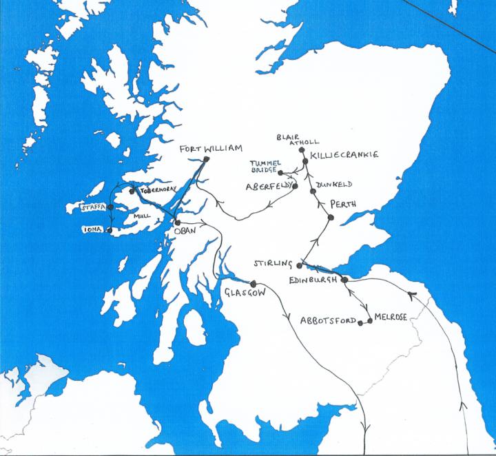 Map of Scotland showing route taken by Mendelssohn in 1829
